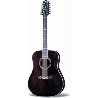 Folk guitar 12-string Dreadnought transparent black