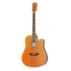Folk guitar 6-strings Dreadnought el. venetian cutaway transparent brown